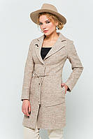 """Пальто с брошью """"Шерон"""" бежевое"""