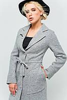 """Пальто с брошью """"Шерон"""" светло-серый"""