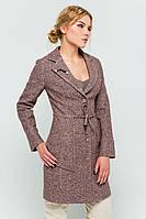"""Пальто с брошью """"Шерон"""" коричневый"""