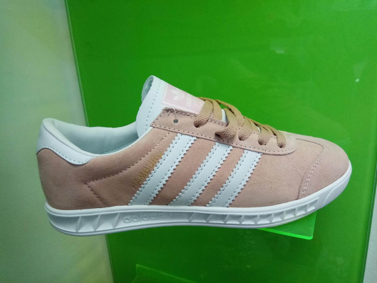 Женские кроссовки Adidas Hamburg розовые с белым