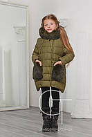 Детская зимняя куртка с натуральным мехом на капюшоне