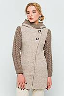 """Пальто с вязаными рукавами """"Молли"""" бежевое"""