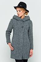 """Пальто с вязаными рукавами """"Молли"""" темно-серое"""