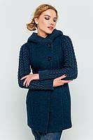 """Пальто с вязаными рукавами """"Молли"""" синее"""