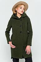 """Пальто с капюшоном """"Стефани"""" зеленое"""