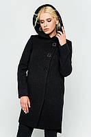 """Пальто с капюшоном """"Стефани"""" черное"""