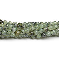 Пренит Граненый, Натуральный камень, На нитях, бусины 8 мм, Шар, кол-во: 47-48 шт/нить