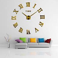 3D часы, настенные, большие, Зеркально-золотого цвета \ Акриловые зеркальные декоративные наклейки