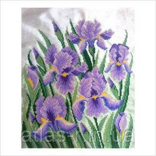"""Схема для частичной вышивки бисером """"Фиолетовые ирисы"""""""