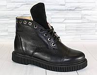 Зимние ботинки на шнурке. Натуральная кожа.1269
