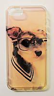 Чехол на Айфон 5/5s/SE Пластик и силикон перламутр Модная собака Полупрозрачный, фото 1