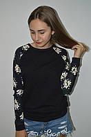 Молодежная кофта свитшот с рукавом из ластика  Турция
