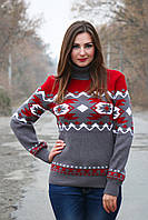 Красивый теплый вязаный свитер Стрелки графит-вишня-белый