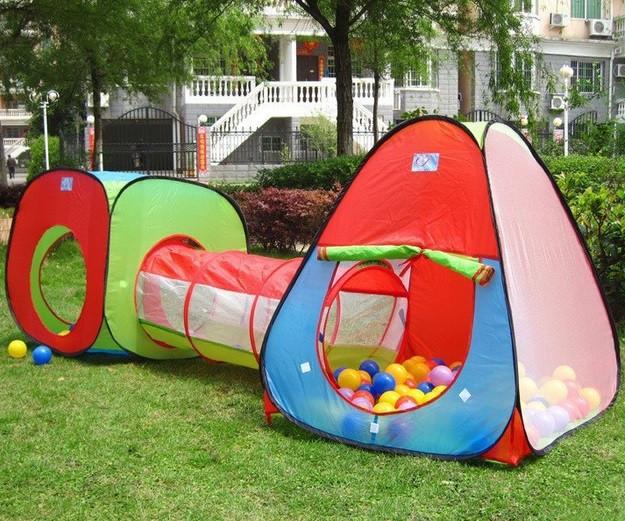 Детская игровая палатка с тоннелем и двумя домиками 2958