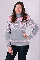 Красивый теплый вязаный свитер Стрелки светло-серый-розовый-белый