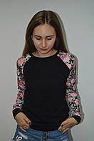 Молодежная кофта свитшот с рукавом из ластика  Турция черный, фото 1