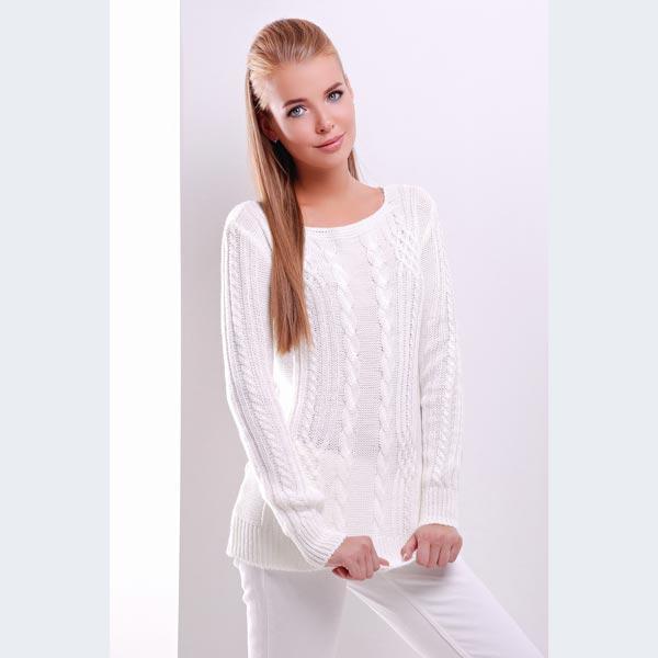 30d925da811d Женский белый свитер вязаный с узором коса