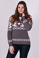 Красивый теплый вязаный свитер Стрелки графит-розовый-белый