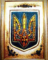 Подарок картина Тризуб Герб Украины из янтаря