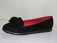 Подростковые черные туфли лоферы замшевые с бантом 36 37 38 39 40 41
