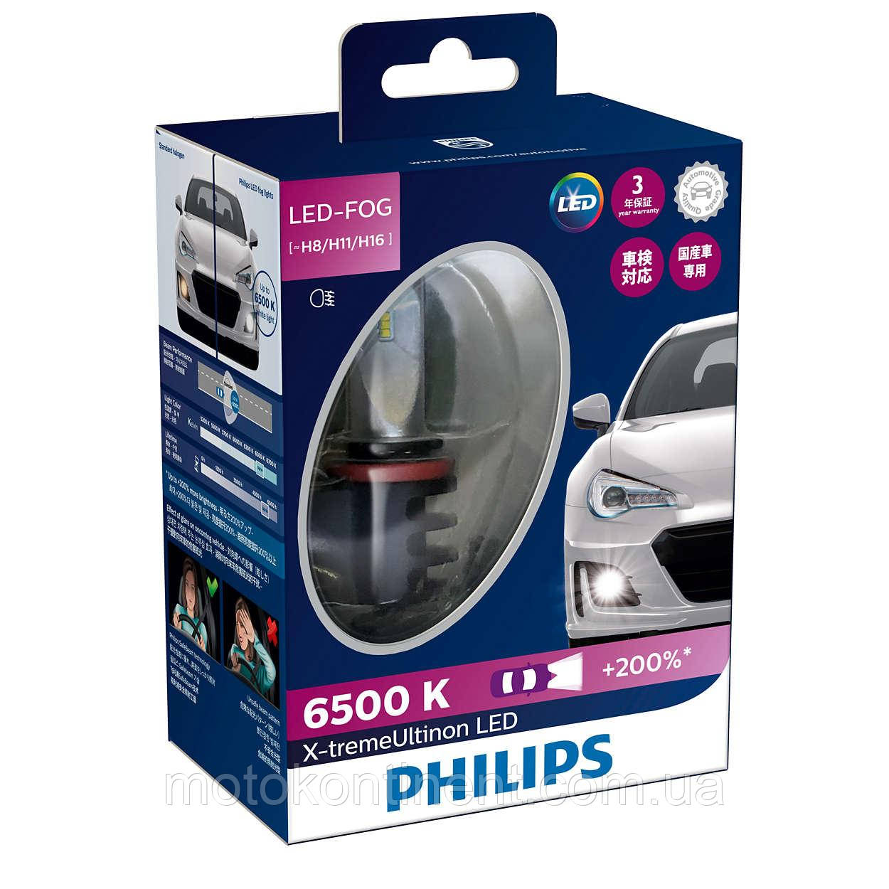 PHILIPS LED H8/H11/H16 Cветодиодные лампы PHILIPS в ПТФ H8/H11/H16 X-treme Ultinon LED Fog 6500K 12794UNIX2