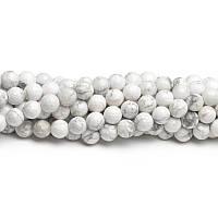 Кахолонг , Натуральный камень, На нитях, бусины 8 мм, Шар, Отверстие 1 мм, количество: 47-48 шт/нить
