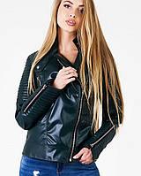 Женская куртка-косуха из экокожи (Косуха leo) т.зеленый