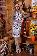 Платье-вышиванка Ольга капучино - белый