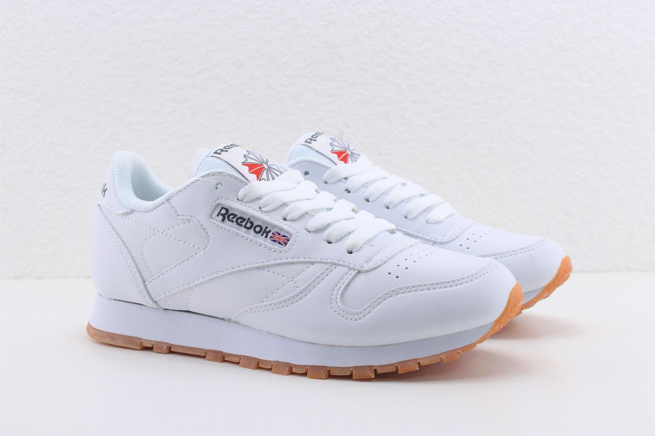 Кросівки Reebok білі жіночі підліткові Рібок Classic Leather Gum