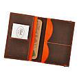 Обложка для паспорта 2.0 Орех-апельсин (кожа) + блокнотик, фото 2