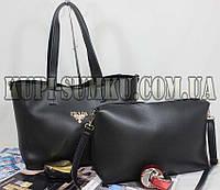Брендовая черная сумка+клатч из экокожи (комплект)
