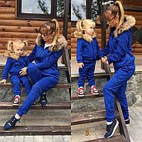 Тёплый с начёсом и мехом костюм мама-дочка
