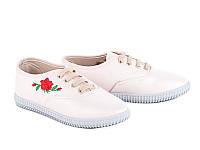 Легкая дешевая спортивная обувь. Кеды женские с вышивкой оптом от фирмы Башили PX0404 Beige (8 пар, 36-41)