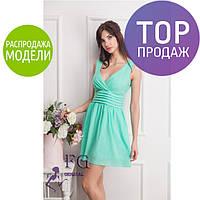Женское коктейльное платье, шифоновое, с вырезом, разные цвета / нарядное женское короткое платье, с запахом