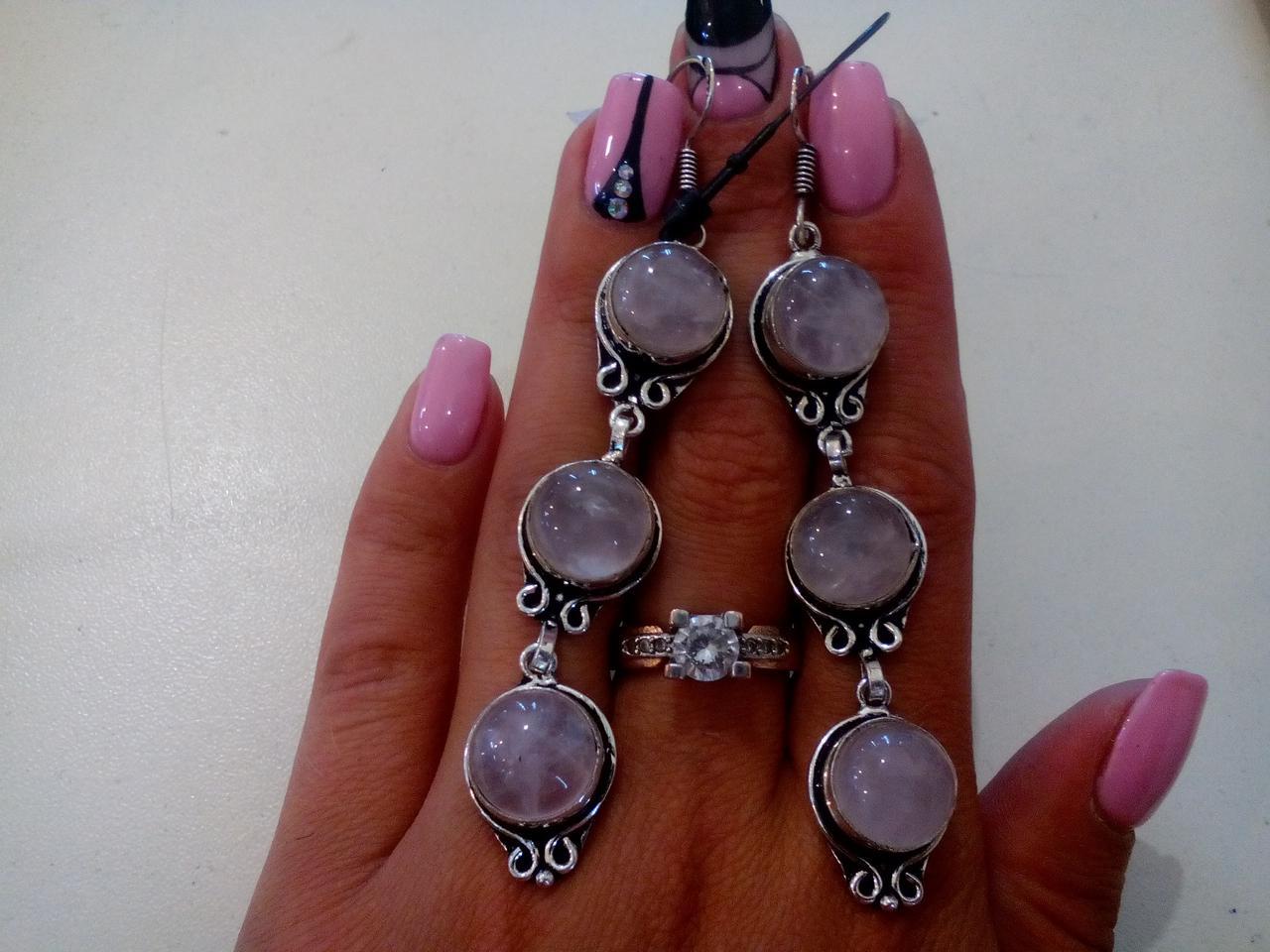 Серьги с розовым кварцем. Серьги с натуральным камнем розовый кварц в серебре. Индия.
