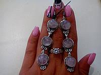 Серьги с натуральным камнем розовый кварц в серебре. Индия.