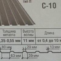 Профнастил С - 10 оцинкованный 0.45 мм.