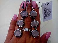 Серьги с натур. камнем розовый кварц в серебре. Индия.