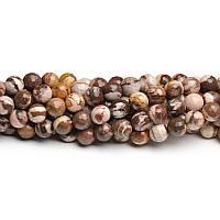 Коричневая Яшма Зебра, Натуральный камень, бусины 8 мм, Шар, Отверстие 1 мм, количество: 47-48 шт/нить
