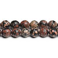 Красный Снежный Обсидиан, Натуральный камень, На нитях, бусины 8 мм, Шар, кол-во: 47-48 шт/нить