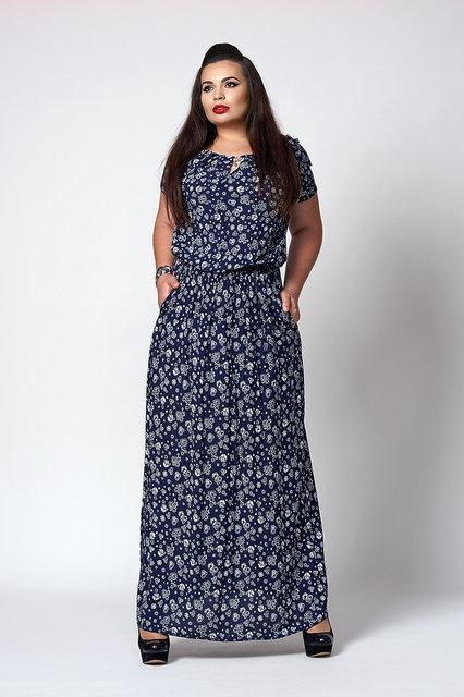 Длинное женское платье, темно-синее в белые ромашки