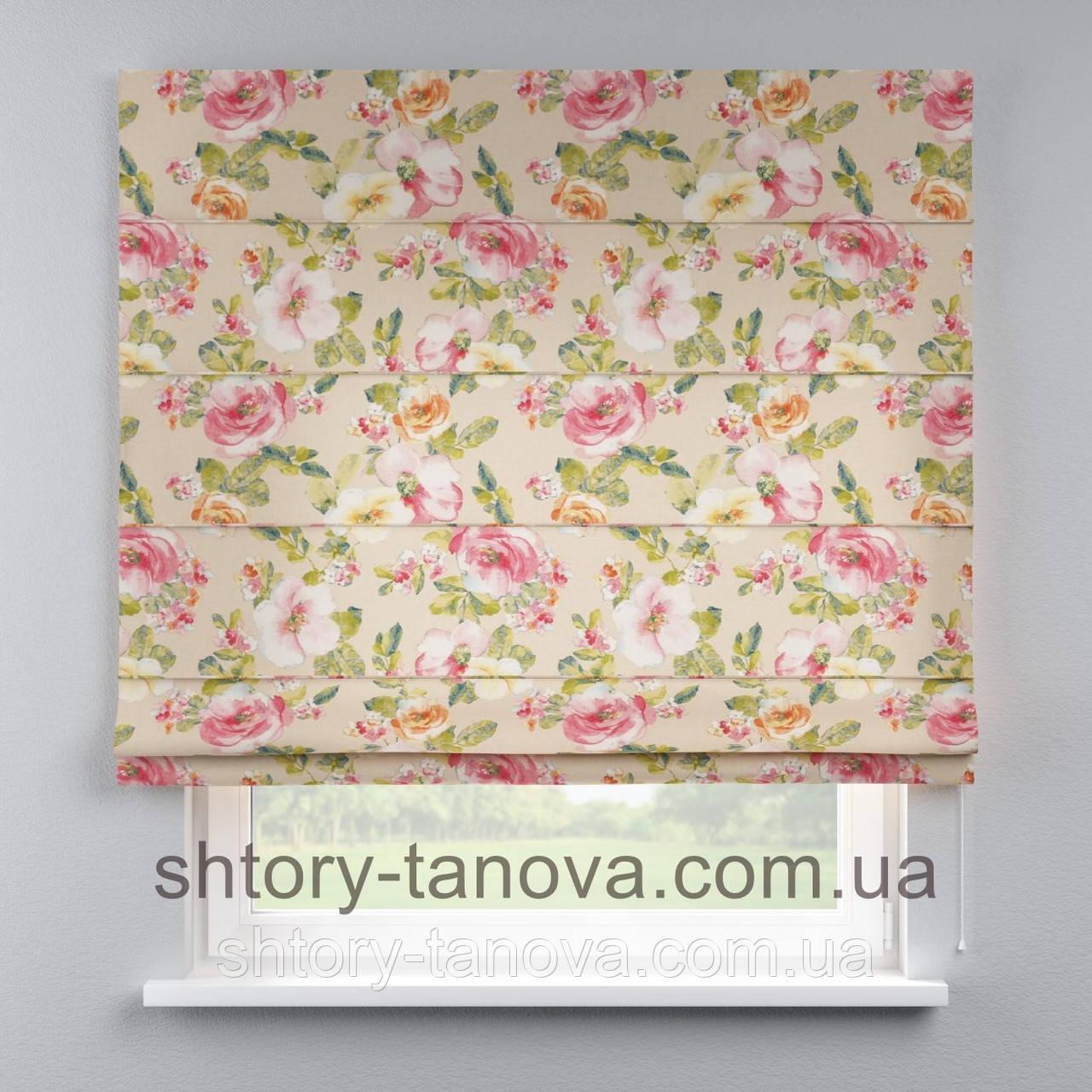 Римская штора с цветочным принтом 160x170 см