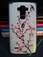 Чехол бампер силиконовый LG G4 Stylus H630D в цветочки, с рисунком