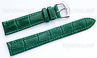 Ремешок Slava (Слава) 18 мм для наручных часов, натуральная кожа, зеленый, строчка