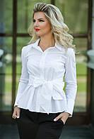 Стильная блуза с завязкой-бантом на талии. Цвет: черный/белый.