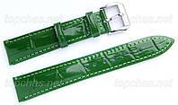 Ремешок Slava (Слава) 16 мм для наручных часов, натуральная кожа, зеленый, строчка
