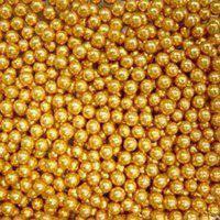 Золоті цукрові намистини прикраса для тістечок, тортів, капкейків, розміром 1 мм, фасовка 25 гр.