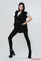 Вязаный женский жилет черный