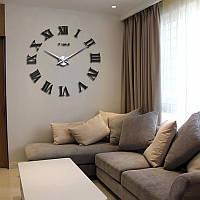 Часы 3D, настенные, большие, Зеркальный темно-серый цвет \ Акриловые декоративные наклейки