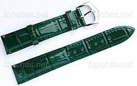 Ремешок Slava (Слава) 14 мм для наручных часов, натуральная кожа, зеленый, строчка